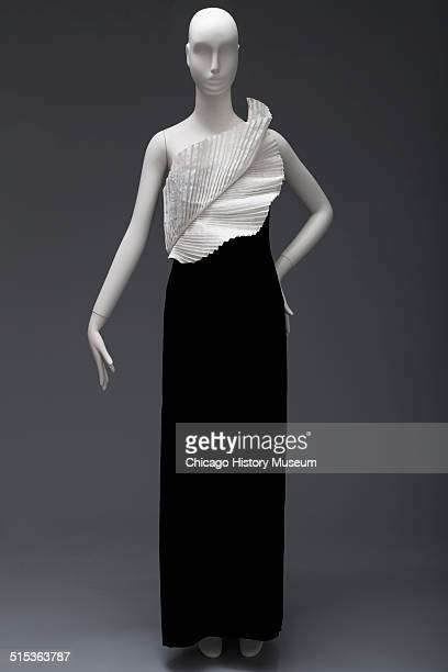 Evening gown designed by Bill Blass with white bodice and black skirt 1982 Shown as part of the Chicago History Muesum's November 2014 'Chicago...