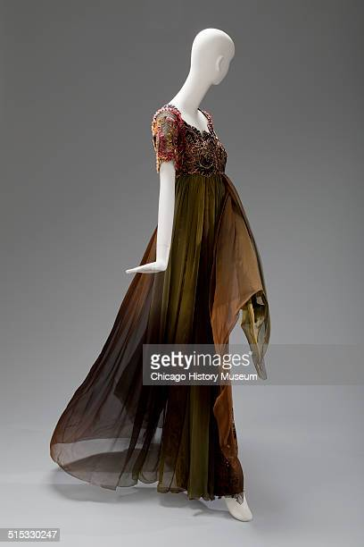 Evening gown designed by Christian Lacroix with beaded flowers on bodice 1993 Shown as part of the Chicago History Muesum's November 2014 'Chicago...