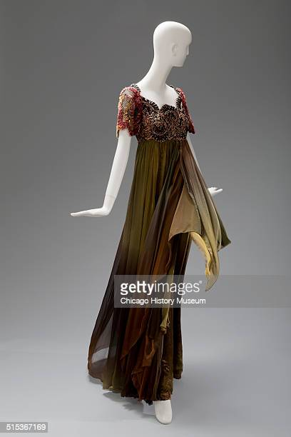 Evening gown, designed by Christian Lacroix, with beaded flowers on bodice, 1993. Shown as part of the Chicago History Muesum's November 2014...