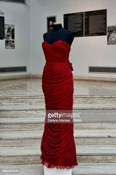 Evening gown in ruby red silk crepe dubled in chiffon Sorelle Fontana creation for the Infanta of Spain Princess Beatrice Torlonia dress exposed for...