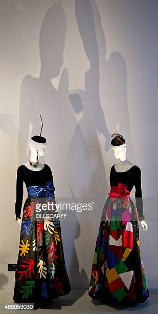 Evening gowns inspired by Henri Matisse's ideas are pictured during a photocall at the Bowes Museum in Barnard Castle in northeast England on July 9...