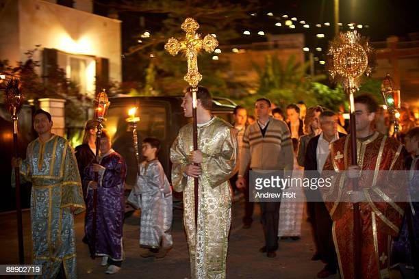 evening greek orthodox procession in greece. - greek orthodox easter stock pictures, royalty-free photos & images