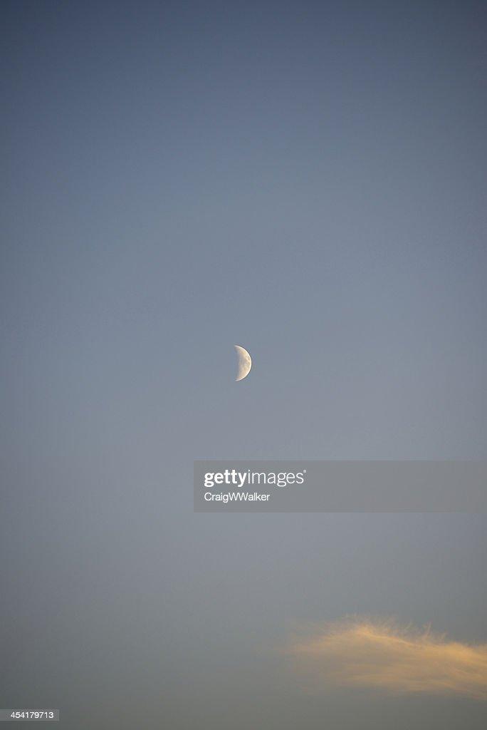 Evening Half Moon : Stock Photo