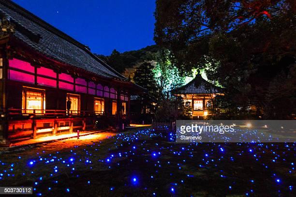 Éclairage en soirée au Shoren à Temple de Kyoto, Japon