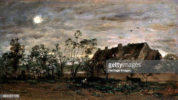 'Evening in Honfleur', 1860s. Daubigny, Charles-François . Found in the collection of the State A. Pushkin Museum of Fine Arts, Moscow.