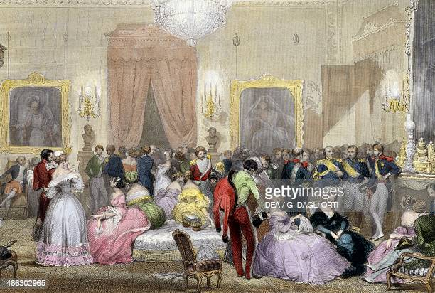 Evening in the home of the Dukes of Orleans 18401850 engraving by Eugene Louis Lami