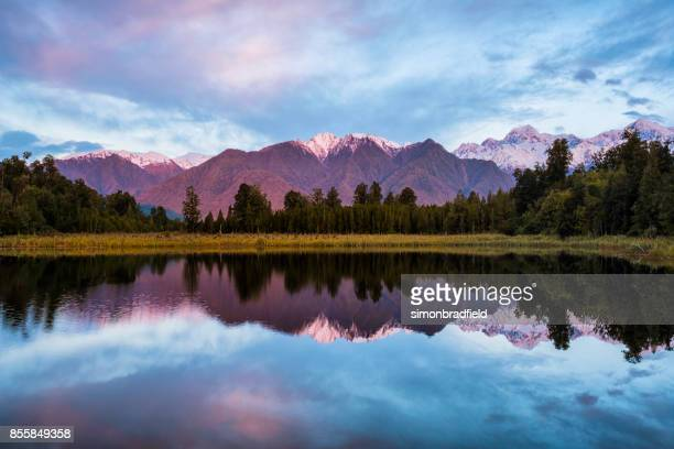 Evening Light At Lake Matheson In New Zealand