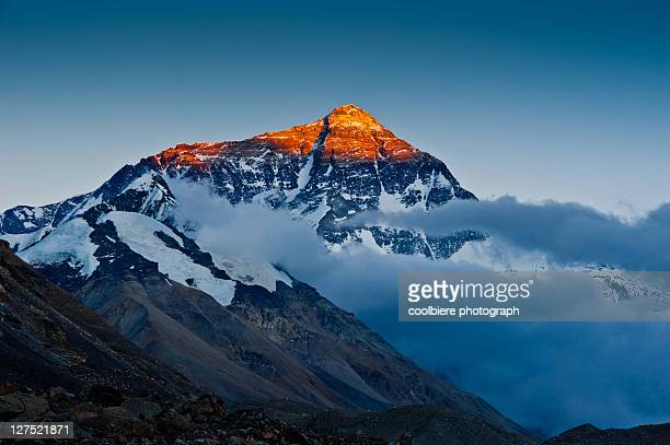 Evening light cast on top of mount Everest