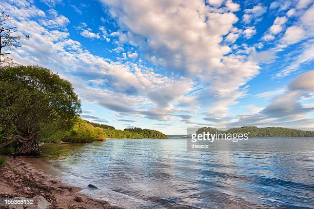 evening light on loch lomond - theasis stock pictures, royalty-free photos & images