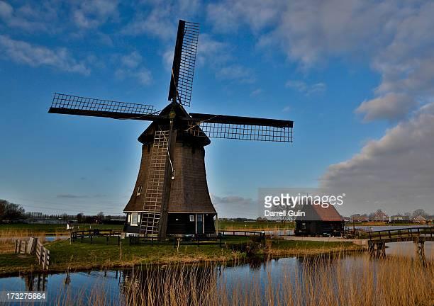 Evening light on old wooden windmill