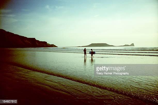 Evening Light on Rhosilli Beach Swimmers