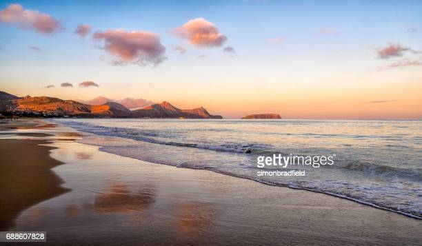 evening light on the beach at porto santo - lareira stock pictures, royalty-free photos & images