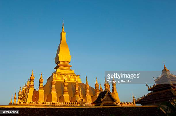 Evening light on the That Luang Stupa in in Vientiane the capital and largest city of Laos