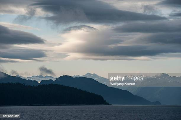 Evening light over Icy Strait viewed from Chichagof Island Tongass National Forest Alaska USA