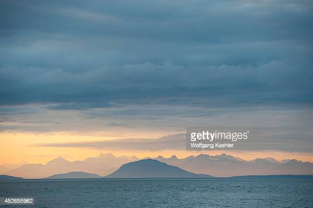 Evening light over Icy Strait viewed from Chichagof Island, Tongass National Forest, Alaska, USA.