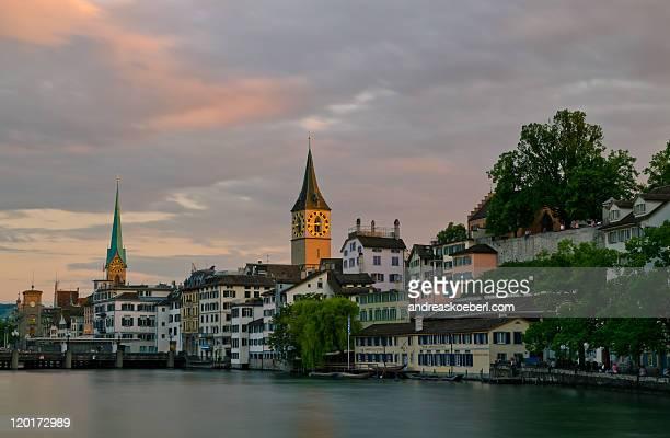Evening light over old town of Zurich, Switzerland