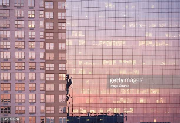 Evening light reflected in office buildings