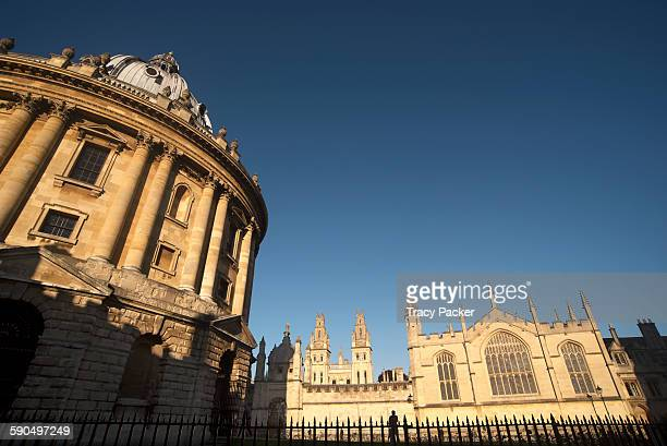 Evening light shadows fall on the iconic Neoclassical Radcliffe Camera designed by James Gibbs and built from 173749 seen here in this wide angle...