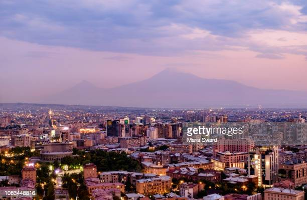 evening magic in yerevan with mount ararat, armenia - armenia stock pictures, royalty-free photos & images