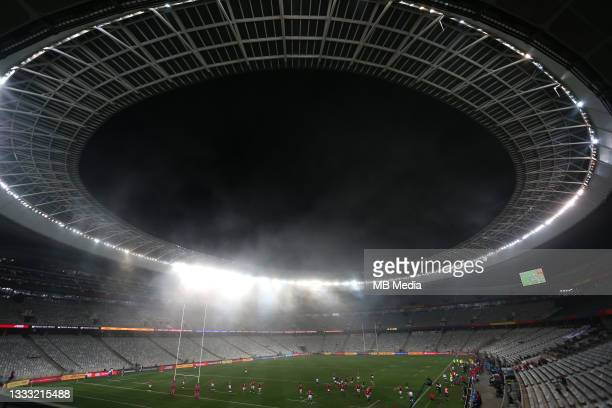 Evening mist rolls into the stadium during the 3rd Test between South Africa and the British & Irish Lions at FNB Stadium on August 7, 2021 in...