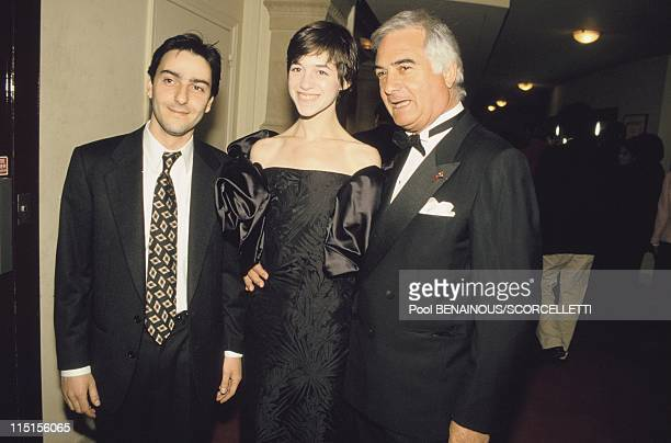 Evening Molieres in Paris France on April 18 1994 Yvan Attal Charlotte Gainsbourg and JeanClaude Brialy