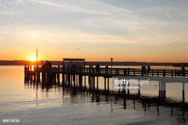 Evening mood, jetty in Herrsching, Ammersee Lake or Lake Ammer at dusk, five lakes region, Upper Bavaria, Bavaria, Germany, PublicGround