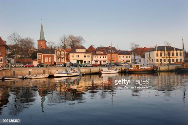 Evening mood with the harbour and the town church of Neustadt in Holstein, Schleswig-Holstein, Germany