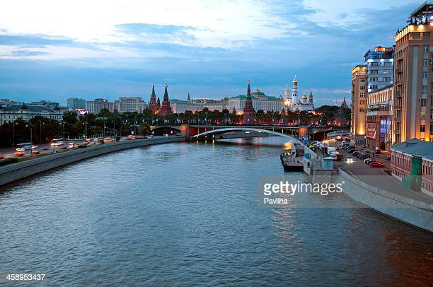 evening moscow with moscva river and kremlin - pavliha stock photos and pictures