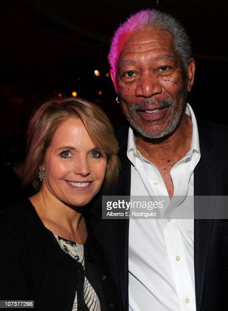 Evening News anchor and managing editor Katie Couric and actor Morgan Freeman attend The Hollywood Reporter's Annual Power 100 Women In Entertainment...