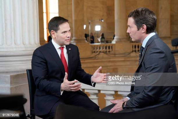 Evening News Anchor Jeff Glor interviews Sen Marco Rubio ahead of the 2018 State of the Union on Jan 30 in Washington DC
