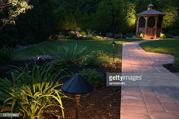 evening oasis - illuminated stock pictures, royalty-free photos & images