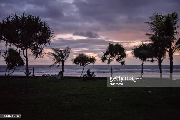 Evening on Medewi beach Bali Indonesia in December 2018