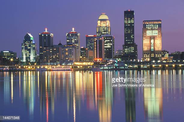 Evening on Ohio River and Louisville skyline KY shot from Indiana