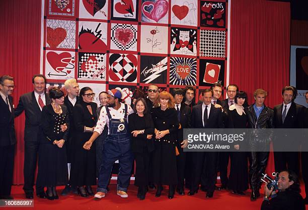 Evening Organized At The Benefit Of The Fight Against Aids In The Square Court At The Louvre Paris By Pierre Berge Which Gathered Fashion Designers...