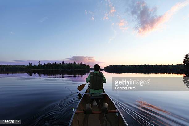 evening paddle - minnesota bildbanksfoton och bilder