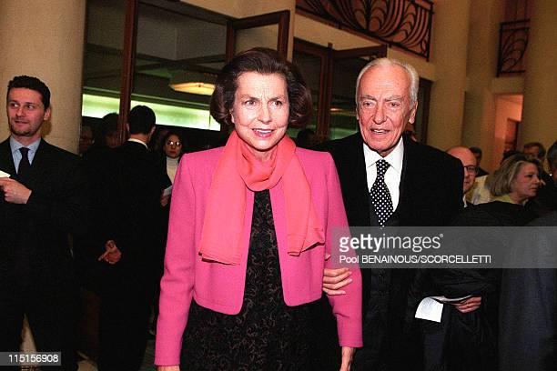Evening party for 70 years of M Rostropovitch in Paris France on March 27 1997 Liliane Bettencourt and husband