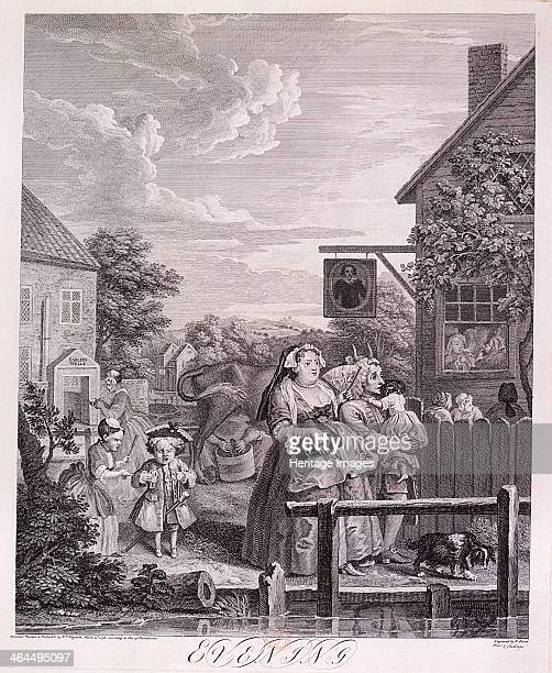 'Evening' plate III from Times of Day 1738 Scene at Sadler's Wells Finsbury London with Sir Hugh Middleton Tavern in the background A lady with fan...