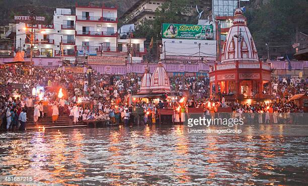 Evening prayer at Har Ki Pauri River Ganges Haridwar Uttarakhand India