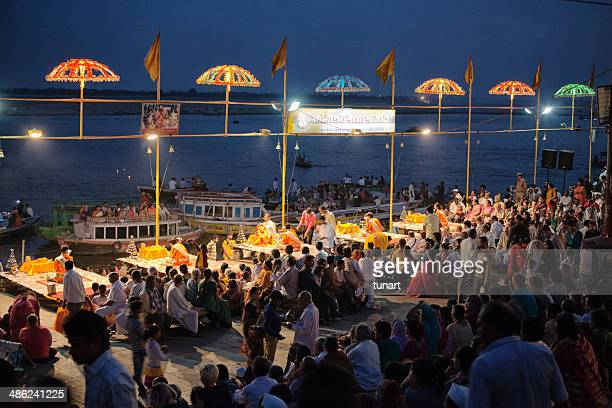 evening rite for the river ganges, varanasi, india - ceremony stock pictures, royalty-free photos & images