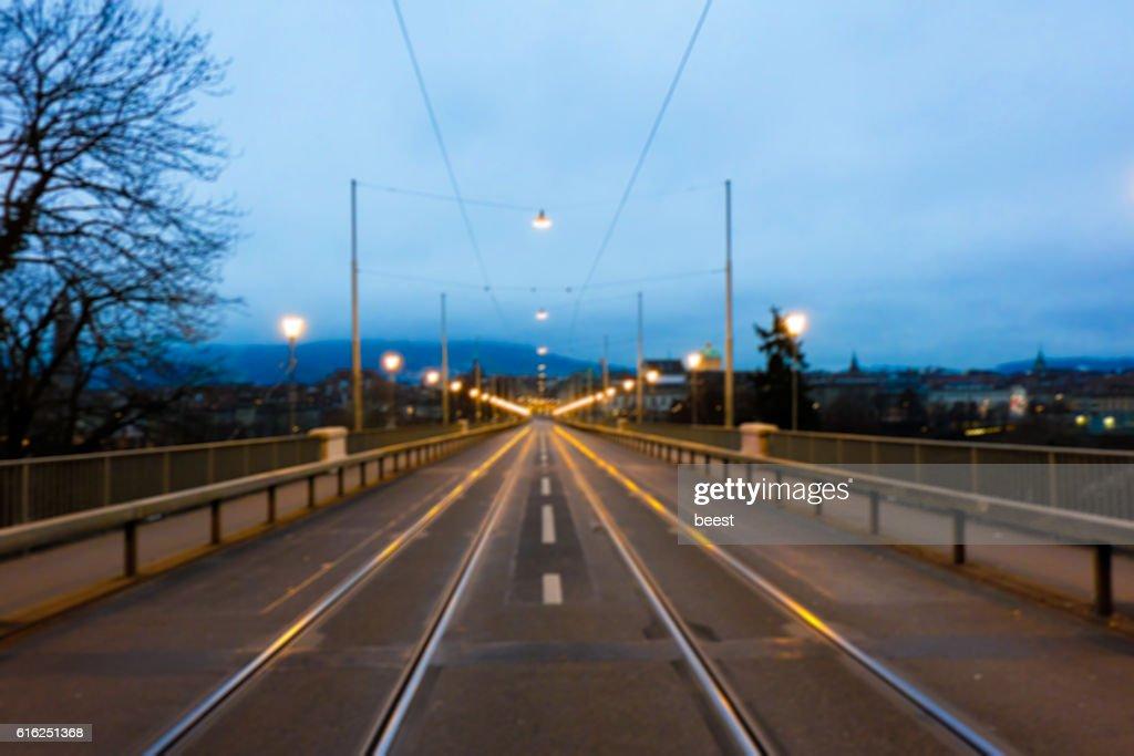 Evening Road on the Bridge in Bern, Switzerland - BLUR : Stock Photo