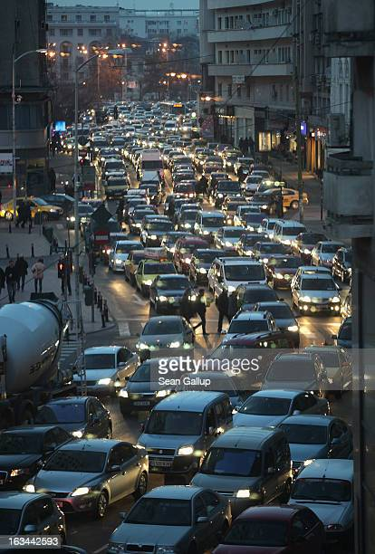 Evening rush hour traffic clogs Calea Victoriei avenue on March 7, 2013 in Bucharest, Romania. Both Romania and Bulgaria have been members of the...
