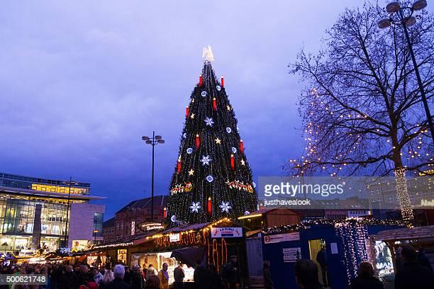evening scene on christmas market dortmund - dortmund city stock pictures, royalty-free photos & images