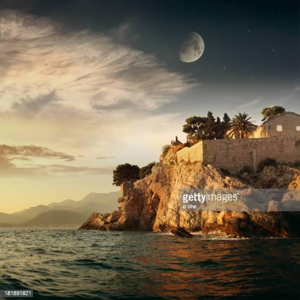 Evening sea landsape with moon