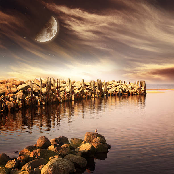 Evening sea landscape with moon