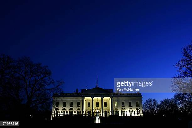Evening settles over the White House January 10 2007 in Washington DC US President George W Bush will address the nation this evening on his latest...