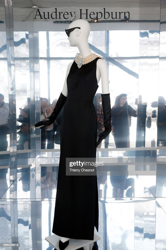 Evening sheath dress in satin, worn by Audrey Hepburn in the film Breakfast at Tiffany's by Black Edwards is displayed during the press preview exhibition 'Hubert de Givenchy' at 'Cite de la Dentelle et de la Mode' on June 15, 2017 in Calais, France. This exhibition takes part from June 15 to December 31, 2017.