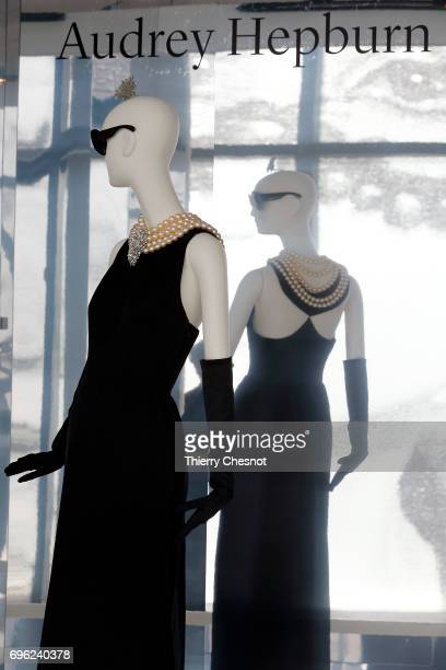 Evening sheath dress in satin worn by Audrey Hepburn in the film Breakfast at Tiffany's by Black Edwards is displayed during the press preview...
