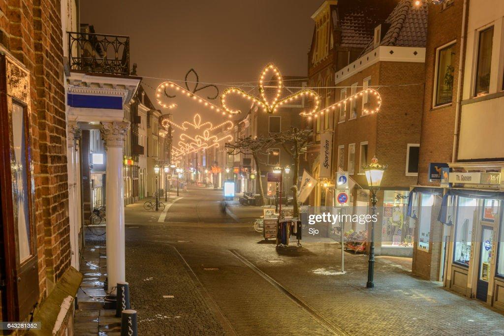 Evening Shopping Street Of Kampen In Overijssel The
