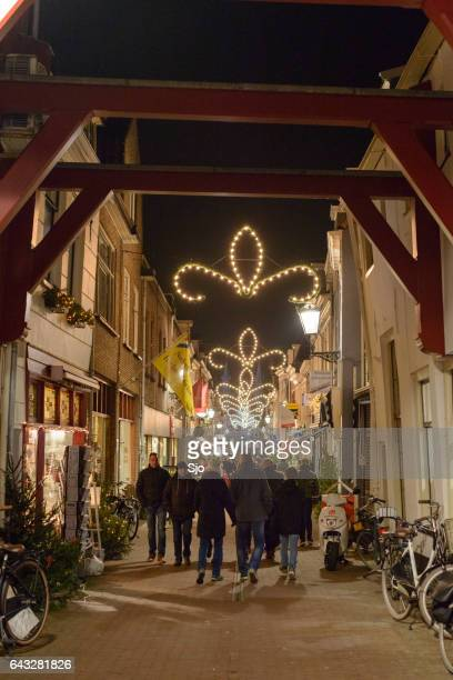 Evening shopping street of Kampen in Overijssel, The Netherlands