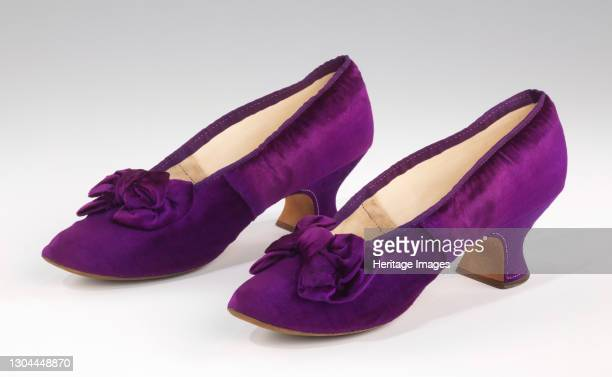 Evening slippers, French, 1885-90. Worn by Abigail Kinsley Norman Prince . Artist J Ferry.